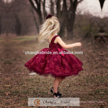 High Quality Bergundy Flower Girl Dress Children Lace Designs Party Dress Kids 2016