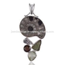 Piethite Ammonite Smoky Meteorite Moldavite & Green Amethyst Silver Pendant