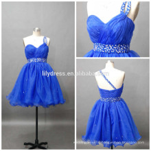 Latest Designs One Shoulder Ruffled Beaded Custom Made Mini Cocktail Occasion Party CD070 cocktail dresses short royal blue