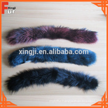 Dyed different colors raccoon fur trimming
