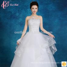 Slim Fit Off-Schulter Slim Fit Puffy Ballkleid Multilayer Spitze Applikationen günstig plus Größe Hochzeitskleid