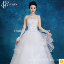 Slim fit off-shoulder slim ajuste puffy vestido de bola multicapa de encaje apliques barato más vestido de novia de tamaño