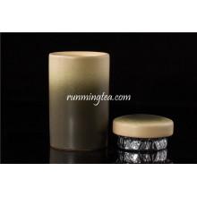 Dunkelgrüner Keramik Teekanister / Caddy