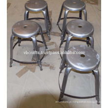 Vintage Industrial Metal Stool Antique Chrome Plated