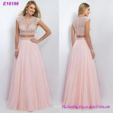 New Fashion Two Pieces Long Elegent Pink Chiffon Evening Dress Wholesale