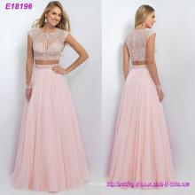 Новая Мода Две Пьесы С Длинным Элегантный Розовый Шифон Вечернее Платье Оптовая