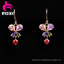 Boucles d'oreilles chandelier plaqué or zircon