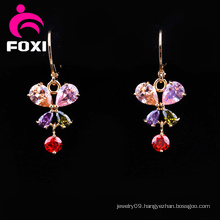 Hot Sale Cubic Zirconia Gold Plated Chandelier Earrings
