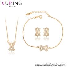 64996 xuping fashion Synthetic CZ 18k chapado en oro conjunto de joyas de las mujeres coreanas