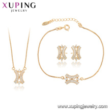 64996 xuping fashion Synthetic CZ 18k gold plated Korean women jewelry set