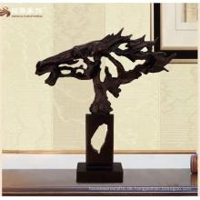 High-End-Wohndekor antike Bronze Pferde Skulptur mit Höhle aus abstrakten Design