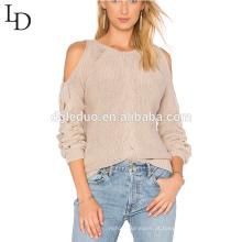 2017 personalizado manga longa ombro frio feio crochê camisola das mulheres