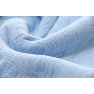 High End Jacquard Blommönster Blue Blanket