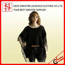 Suéter negro del poncho de las mujeres de la manera
