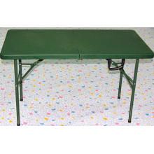 Verde Ejército utilizado tabla plegable / 4FT Mobiliario Camping Muebles Mesa de picnic Foldig en la mitad tabla al aire libre para el Ejército
