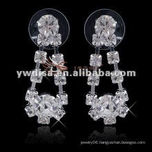 2013 fashion wedding jewelry Earings with clear rhinestones for Bride