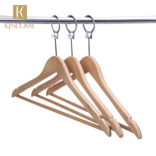 Factory wholesale good quality wooden anti-theft hotel suit hangers.