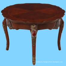 Hand carved wooden antique round occasional cocktail table