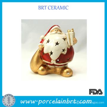 Санта Рождественская керамическая подсвечник
