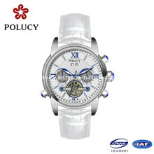 White Genuine Leather Strap Day/Date Funcation China Automatic Men′s Watch