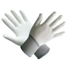 Polyester / Nylon Handschuhe mit weißem PU beschichtet mit Ce