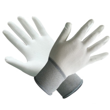 Polyester/Nylon Gloves with White PU Coated with Ce