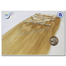Wholesale high quality sew in human hair extensions blonde 100% virgin human hair clip in hair