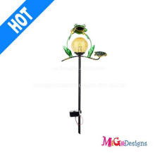 Outdoor Metal Glass Frog Garden Stake Solar Lights