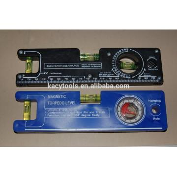 8 '' Mini nivel magnético plástico del torpedo del instrumento con los frascos de la burbuja del cilindro