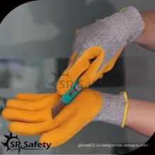 SRSAFETY с покрытием из желтого латекса с покрытием 5 резиновые перчатки для обработки стекла