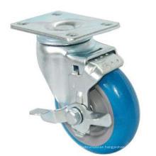 Swivel PU Caster with Side Brake (Blue)