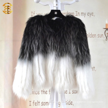 Estilo europeu de cores misturadas Mulheres tricotadas Inverno Casaco de pele de guaxinim genuíno
