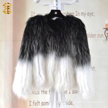 Европейский стиль смешанного цвета трикотажные женщины зимой Подлинная Raccoon меховой пальто