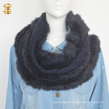 Adults Style Wool Knitted Genuine Fox Fur Muffler Scarf with Fox Fur Trimming