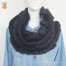 Estilo adulto de lã de malha de lenço genuíno de silhueta de pele de raposa com corte de pele de raposa