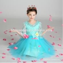 Kindermode Kleid 2017 Kinder Blumen langes Kleid mit großen Bowknot Geburtstagskleid für Mädchen von 7 Jahren alt mit großen Bowknot