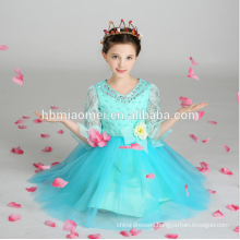 Children fashion clothing 2017 kids floral long dress with big bowknot birthday dress for girl of 7 years old with big bowknot
