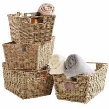 Juego de 4 cestas de almacenamiento de Seagrass con manijas de inserción Juego de 4 cestas de almacenamiento de Seagrass con manijas de inserción