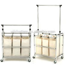 Sacos altos do armazenamento da lavanderia do cabaz ajustável ajustável do espaço com rodas