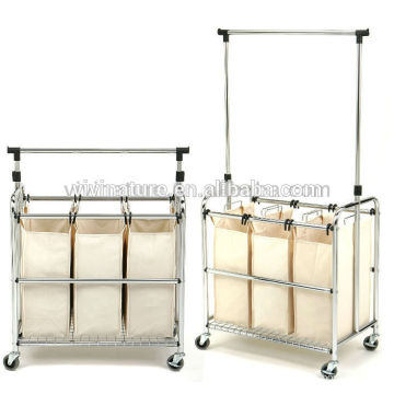 Big Space Adjustable Hamper High Laundry Storage Bags with Wheels