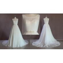 Robe de mariée en mousseline de soie sans manches
