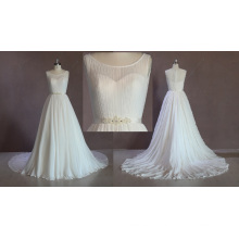 Vestido de noiva sem mangas de chiffon
