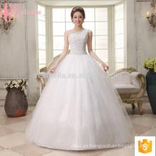 El cordón hinchable del vestido de bola del uno-hombro de las ventas al por mayor aplica más barato más el tamaño que rebordea el vestido de boda