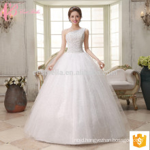 Wholesales one-shoulder puffy ball gown lace appliques cheap plus size beading wedding dress