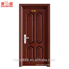 metal front door main design steel entry door powder finishing painted with stainless handle