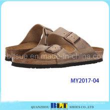 Sandalias casuales de cuero de grano entero de moda y cómodo