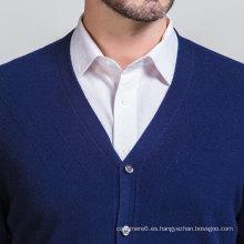 Suéter hecho a mano del estilo del negocio del cuello de la camiseta del cuello en V de la primavera de los hombres con el botón