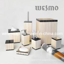 Accessoires de salle de bains en bois lavé blanc (WBW0260A)
