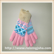 thick winter women knitted gloves with fingers