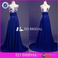 ED Bridal Elegant Blue Lace Appliques sem mangas Key Hole Back A-line Long Prom Dress 2017